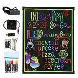 LED-Schreibtafel, 80cm x 60cm beleuchtet Erasable Neon-Effekt Restaurant Menü Schild mit 8 Farben Marker, 7 Farben und blinkende Mode DIY Tafel für Küche Hochzeit Promotions von Hosim
