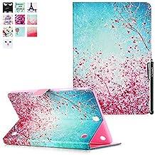 Galaxy Tab A 9.7 T550 Funda, T550 Cover, Deenor Peach blossom Diseño Flip Carcasas PU Cuero Cover Stand Funda Carcasas para Samsung Galaxy Tab A 9.7 SM-T550. (Peach blossom)