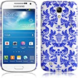 JAMMYLIZARD | Damast- Motiv Back Cover Hülle für Samsung Galaxy S4 Mini, BLAU
