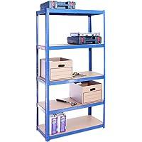 Rangement Garage: 180 cm x 90 cm x 40 cm | Bleu - 5 Niveaux | 175 kg par tablette (Capacité Totale de 875 kg) | Garantie…