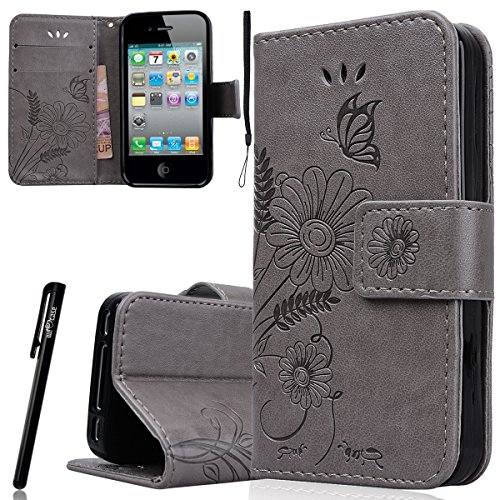 WE LOVE CASE iPhone 4 / 4s Schutzhülle Hülle , iPhone 4 4s Lederhülle Im Retro Style Schmetterling Blume Grün Muster Tasche Handytasche Backcover Stoßfest Protective Bumper Case Cover Brieftasche Kart Grau