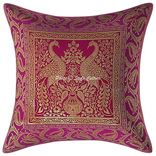 Stylo Culture Indisch Wohnzimmer Kissen Dekorativ Kissenhülle 16 x 16 Inch Brokat Rosa Gold Jacquard 40 x 40 cm Pfau Traditionell Dekokissen Quadrat Kissenbezuge (1 Piece)