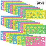 Faburo 32 Pezzi Set di Stencil, Stampini da Disegno in Plastica per Bambini, Disegni Assortiti mestiere Creativo Pittura Stencils Set