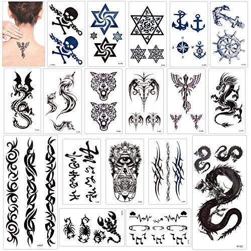 Konsait temporär Tätowierung schwarz Tattoo Körperkunst Kleine Bögen Tattoo Aufkleber Fake Arm Tattoos Sticker für männer Frauen, Drachen Anker Auge Skorpion Totenkopf und mehr(18 Blätter)