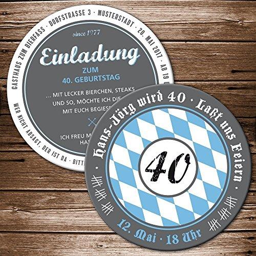 Bierdeckel 50 Stück Einladung Geburtstag mit Ihren Daten; Motiv Bayern Oktoberfest Bieruntersetzer Bierfilz originelle individuelle Einladungskarte blau-weiß Oktoberfest Party Biergarten Bier-Party ...