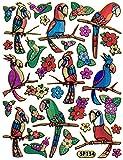 Vogel Papagei Blumen Aufkleber 32-teilig 1 Blatt 135 mm x 100 mm Sticker Basteln Kinder Party Metallic-Look
