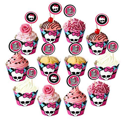 Dream Loom Cupcake Toppers und Liner, 24 Stück Feiertags-Muster Kuchen-Verpackungs-Backen-Zubehör, Kuchen und Muffin Dekoration Für Festivalthema und Geburtstagsfeier (Halloween)