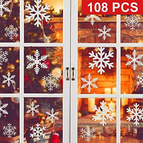 Vetrofanie natale, adesivo fiocco di neve natale, adesivi natale finestre, vetrofanie natalizie per negozi, adesivi vetro natalizi, 108 pcs natale adesivi decorazione rimovibile