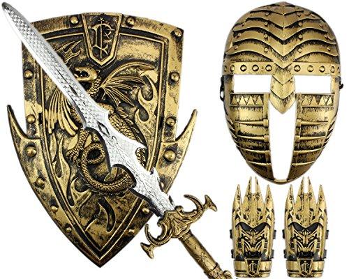 mit Schwert und Schild Maske & Armschoner Kinder Set Gladiatoren Kämpfer Kostüm goldfarbig ()