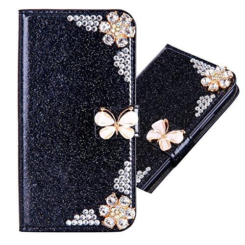 Preisvergleich Produktbild Samsung Galaxy S6 3D Butterfly Sunflower Bling Glitter Glitzer Diamond Musterg Ledertasche Slim Retro Bookstyle mit Standfunktion Karteneinschub und Magnetverschluss Flip Wallet Hülle Schutzhülle
