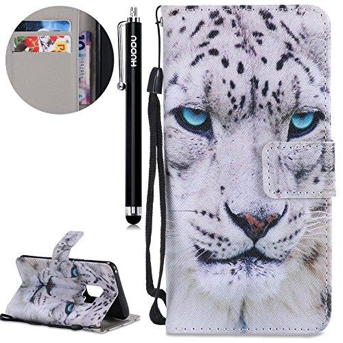 HUDDU Leopard Handyhülle für Samsung Galaxy S9 Hülle Flip Cover Wallet Case Ledertasche mit Kartenfach Magnetverschluss Stand Lederhülle Etui Handy Schutzhülle Tasche Leder Klapphülle Muster Bunt