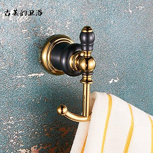 Redhj suspensión de la Torre Baño de Cobre Europeo Conjunto Negro Oro Viejo toallero Estante toallero baño de Estilo Americano, Gancho para Ropa