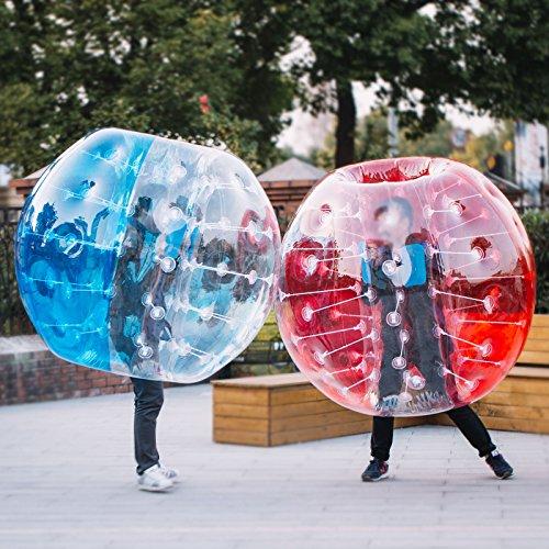 finbfbay aufblasbar Bumper Ball 1,2m/Sandsackset 1,5m 150/Durchmesser Bubble Fußball Blow Up Spielzeug in 5min aufblasbar Bumper Bubble Bälle für Erwachsene oder Kind, 2pcs 1.5M