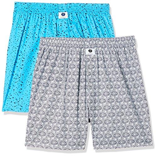 Amazon Brand - Symbol Men's Printed Boxers (Pack of 2)(SYMBXPO2-5_3846 & 3678_Multicolor_Large)