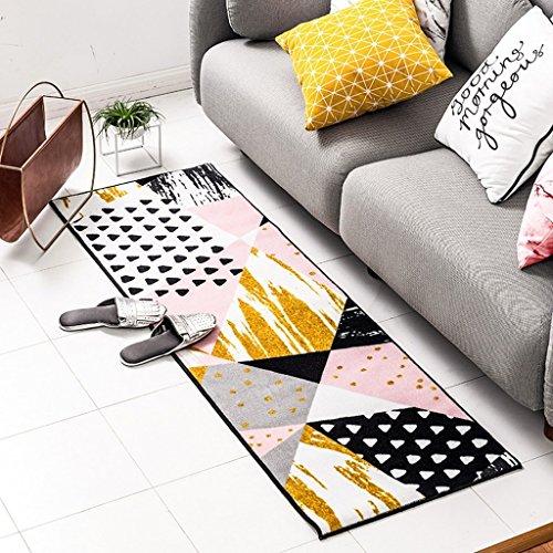 MoMo Teppich Küche Teppich Schlafzimmer Nachtdecke Nordic Einfache Gestreifte Teppich Eingangstür Matte,40 * 150 cm