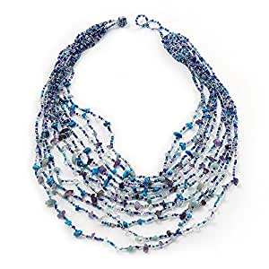 Lavender/ Blue/ Turquoise Coloured Chip & Glass Beaded Multistrand Necklace - 54cm Length