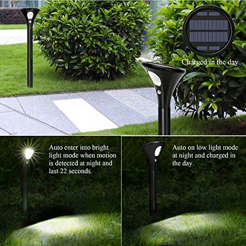 Solar Lights Outdoor Super Bright Motion Sensor Solar Security Lights [2 Packs] IP65 Waterproof Auto On/Off Adjustable Height Solar Powered Spotlight for Path, Door, Yard, Patio [Energy Saving A +]