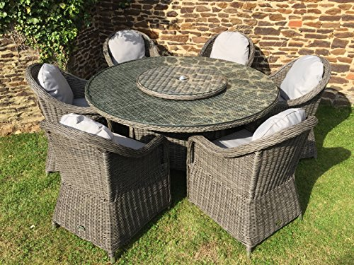 Capri grey rattan garden or conservatory round dining for Outdoor dining sets for 6 round table