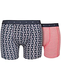 Scotch & Soda 2-Pack Stunning Geo Print Men's Boxer Briefs Gift Set, Navy/Orange