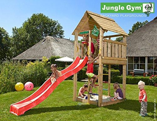JUNGLE GYM Spielturm Jungle CABIN mit Wellen-Rutsche, Komplettbausatz