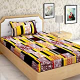 """AEROHAVEN™ Cotton Comfort 144 TC Cotton Single Bedsheet(60"""" X 90"""") With 1 Pillow Cover(16"""" X 26"""") (Yellow)"""