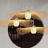 Lustre E27 Plafonnier En Bambou Rétro Lampe De Plafond Suspension Créatif Abat-Jour En Bambou Tissé À La Main Lustre Éclairag