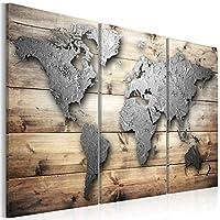 murando - Cuadro acústico Mapa del mundo - en tablero de fibras 135x90 cm - decoración de pared - aislamiento acústico - lienzo de tejido no tejido - absorción de sonidos - 3 piezas - Cuadros XXL - absorbentes acústicos - panel de pared - silencio - k-C-0011-b-e
