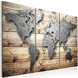 murando - Bilder 135x90 cm Vlies Leinwandbild 3 Teilig Kunstdruck modern Wandbilder XXL Wanddekoration Design Wand Bild - Weltkarte Holz Textur Kontinent k-C-0011-b-e
