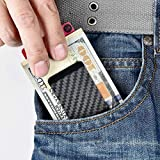 Carbon Fiber Cash Money Clip Wallet Slim Credit Card Holder Minimalist for Men & Women (Black 1)