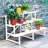 Flower stand H cremagliera Fiore Supporto per fiori in legno massello Supporto per fiori multilivello Balcone per interni Soggiorno Portavasi per fiori Stand per piante da pavimento