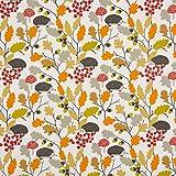 SCHÖNER LEBEN. Dekostoff Baumwollstoff Autumn Zweige Eicheln Igel Creme orange rot 1,4m Breite