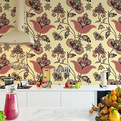 DeStudio Curved Tree Branch With Fantastic Flowers Wallpaper Tiles (Wall Covering Area : 50cms X 50cms) (Pack of 02)-14111