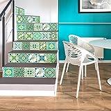 Walplus Wandaufkleber ablösbar selbstklebend Wandkunst Aufkleber Vinyl Wohndeko DIY Wohnzimmer Schlafzimmer Küche Dekor Tapete Geschenk türkisch grün Mosaik Kachel Aufkleber - 15 cm x 15 cm - 24 stk.