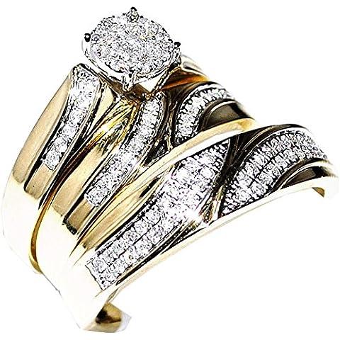 Real Diamond Trio Set de boda para hombre Mujer Anillo 1/2cttw 10K oro amarillo (I2/I3claridad, H/I color)