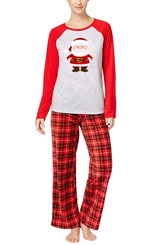 URMOSTIN Pijamas de Navidad Dos Piezas Pijamas Familiares, Conjunto de Ropa de Dormir de Algodón Merry Christmas Manga… 5