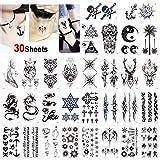 Konsait temporär Tätowierung schwarz Tattoo Körperkunst Kleine Bögen Tattoo Aufkleber Fake Arm Tattoos Sticker für männer Frauen (30 Blätter), Drachen Skorpion Wolf