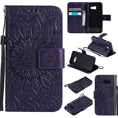 Für Samsung Galaxy A3 2017 Fall, Prägen Sonnenblume Magnetische Muster Premium Soft PU Leder Brieftasche Stand Case Cover mit Lanyard & Halter & Card Slots ( Color : Purple ) Rose Gold