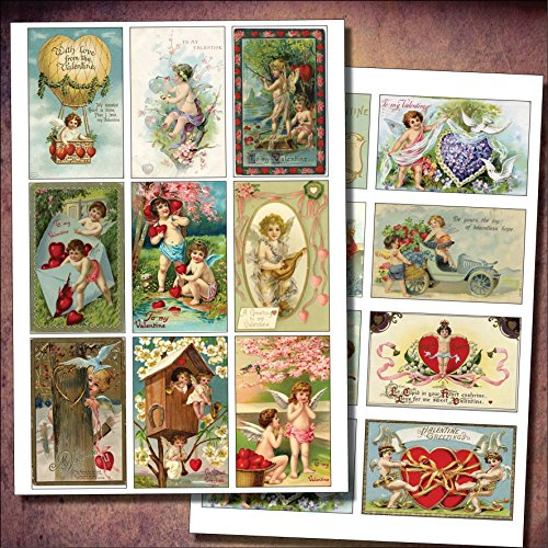 vintage-victorian-valentines-decoupage-cherubs-up-cycling-sticker-decoupage-decal-no1