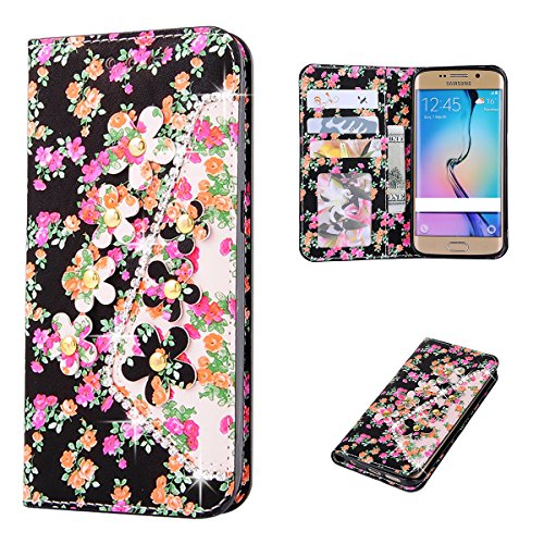 Flip Cover per Samsung Galaxy S7 Edge Glitter Portafoglio, Moonmini® Custodia PU Pelle con 3D Bling, Stand, Slot & Chiusura Magnetica - Pattern 7 Pink Orange Gold Flower in Black