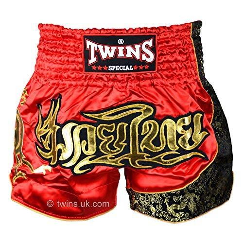 Twins Auténtico Adultos Muay Thai Combate Calzones - Rojo/Oro - Rojo, M