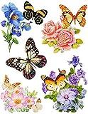 5 tlg. Set Fensterbild - Mohnblume rot und Schmetterlinge -