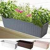Blumentopf Blumenkasten Balkonkasten | Grau | Polyrattanoptik | witterungs- und UV-beständig | für Innen- und Außenbereiche