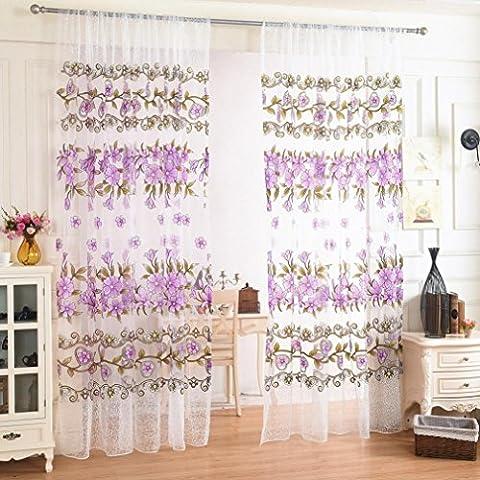 LCLrute Hochwertige Blumen-bloße Vorhang-Tulle-Fenster-Behandlung Voile-Abzieh-Valance 1 Verkleidung-Gewebe Size (L x W): 200cm x 100cm (Lila)