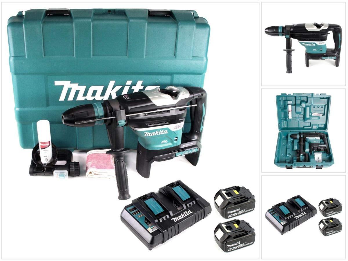 Makita DHR 400 PT2U 2 x 18 V / 36 V Li-Ion Akku Bohrhammer Kombihammer SDS-Max im Koffer + 2 x 5,0 Ah Akku…