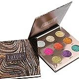 Paleta de sombras de ojos, angmile Shimmer–Purpurina Eyeshadow Primer 9colores resistente al agua para fiestas Festival maquillaje paleta