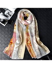 TAO Bufanda de seda bordado de impresión bufanda de seda bordada mujeres satén bufanda de seda