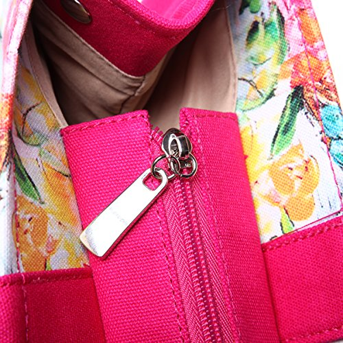 Eshow Borse a tracolla da donna di tela a mano Multifunzione per viaggio sacchetto borsa shopper bag shopping trekking fiorito