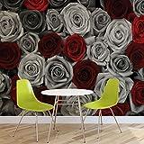 Rot Graue Rosen Blumen Vintage - Forwall - Fototapete - Tapete - Fotomural - Mural Wandbild - (3100WM) - XXL - 368cm x 254cm - Papier (KEIN VLIES) - 4 Pieces