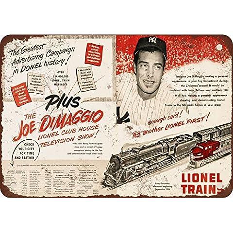 1950Joe Dimaggio per Lionel Trains Look Vintage Riproduzione in metallo Tin Sign 17,8x 25,4cm