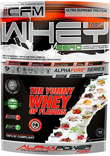 ALPHAPOWER FOOD 100%* ISO CFM Whey Protein Isolate 1kg, naturgegebenes Molkenproteinpulver vorzugsweise aus Weidehaltung, Neutral ohne Geschmack & Süßungsmittel, Eiweißpulver für Müslis & Shakes